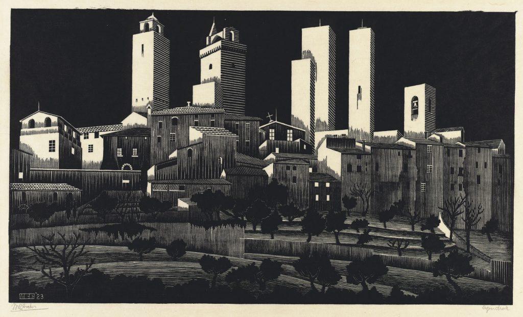 M.C. Escher, San Gimignano, houtsnede, januari-februari 1923