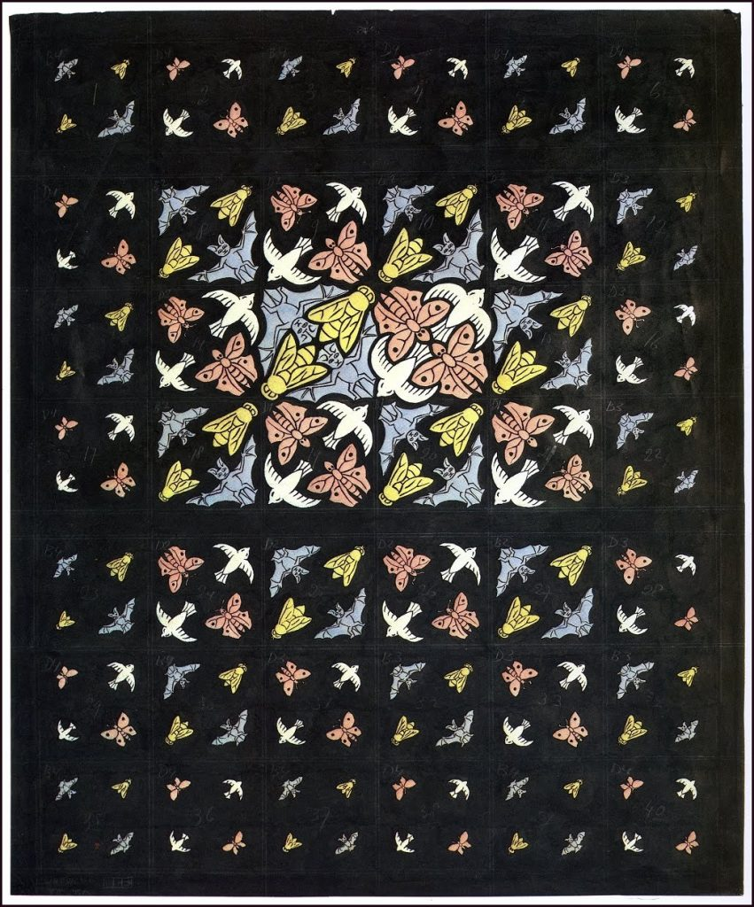 Oorspronkelijk ontwerp van M.C. Escher voor het plafond, 1951