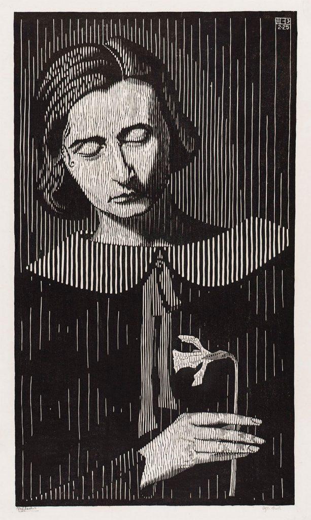 M.C. Escher, portret G. Escher-Umiker (Jetta), houtsnede, februari 1925
