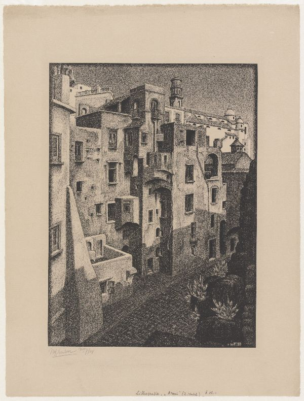 M.C. Escher, Bouwvallige huizen in Atrani, litho, november 1931
