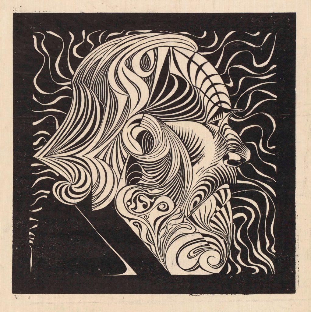 M.C. Escher, Mansportret, houtsnede, 1920