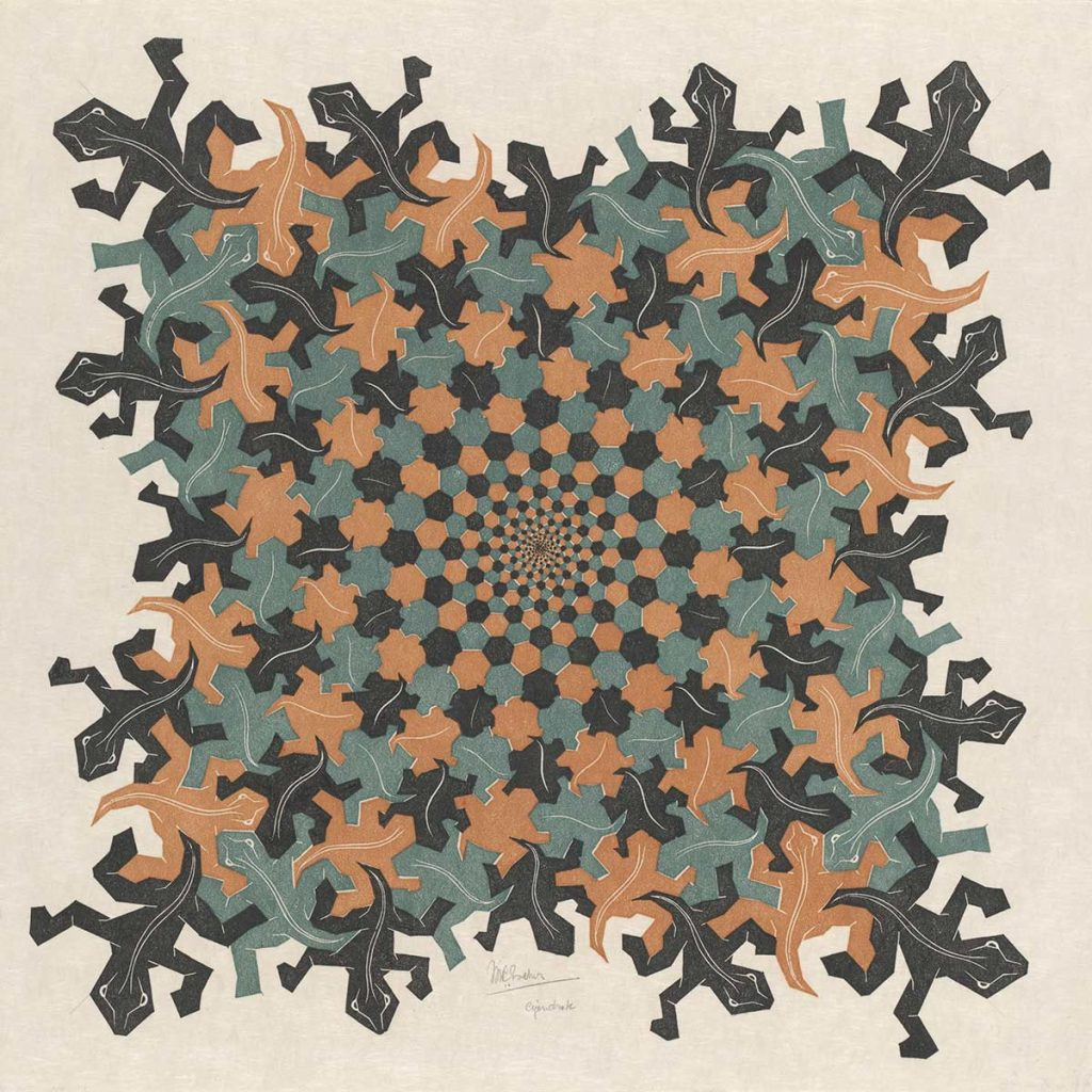 M.C. Escher, Development II, woodcut in brown, grey-green and black, printed from three blocks, February 1939