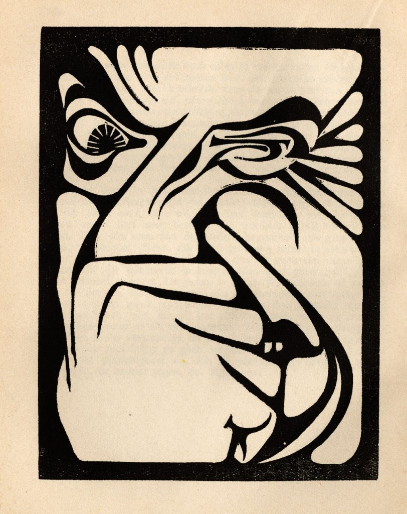 M.C. Escher, Odour from Flor de Pascua, woodcut, 1921