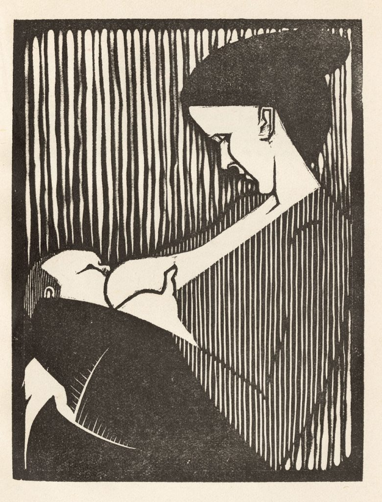 M.C. Escher, 'Liefde' uit Flor de Pascua, houtsnede,1921