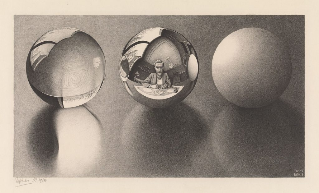 M.C. Escher, Drie bollen II, litho, april 1946