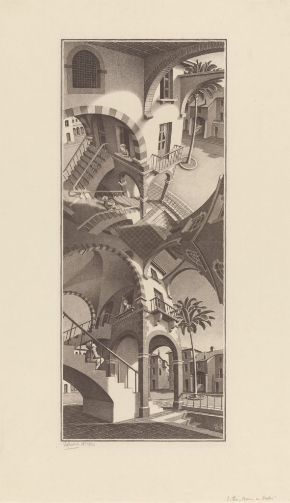 M.C. Escher, Boven en Onder, litho, juli 1947