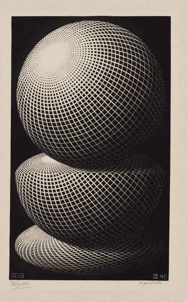 M.C. Escher, Drie bollen, houtgravure, september 1945