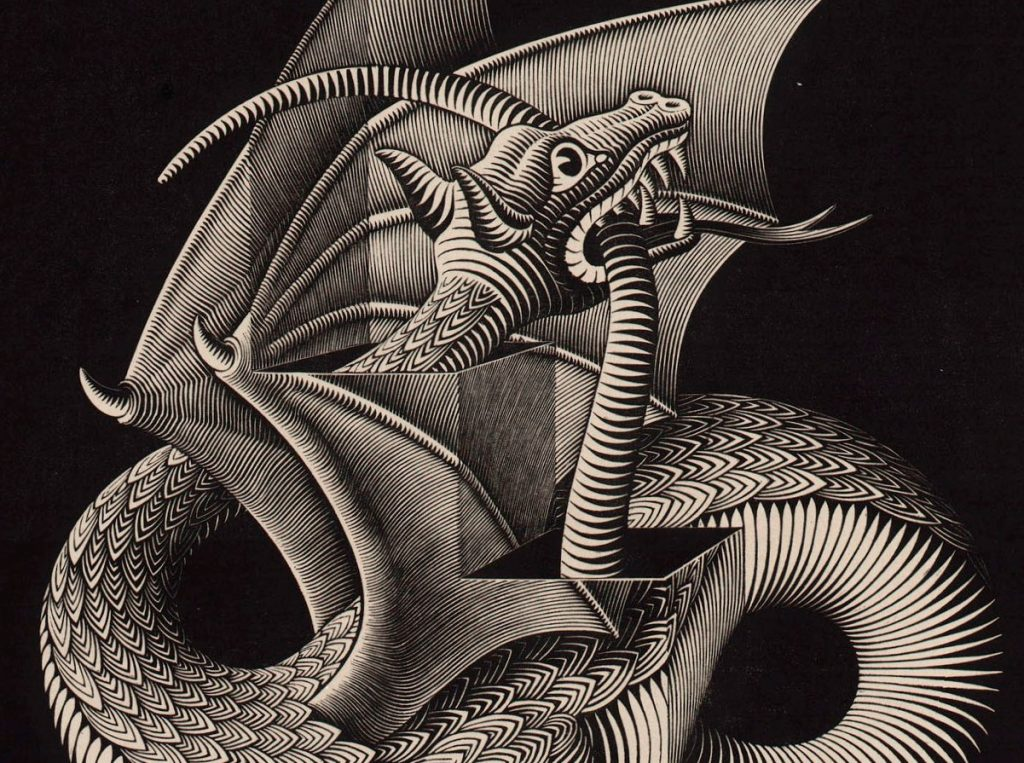 M.C. Escher, Dragon, wood engraving, March 1952 (detail head and tail)