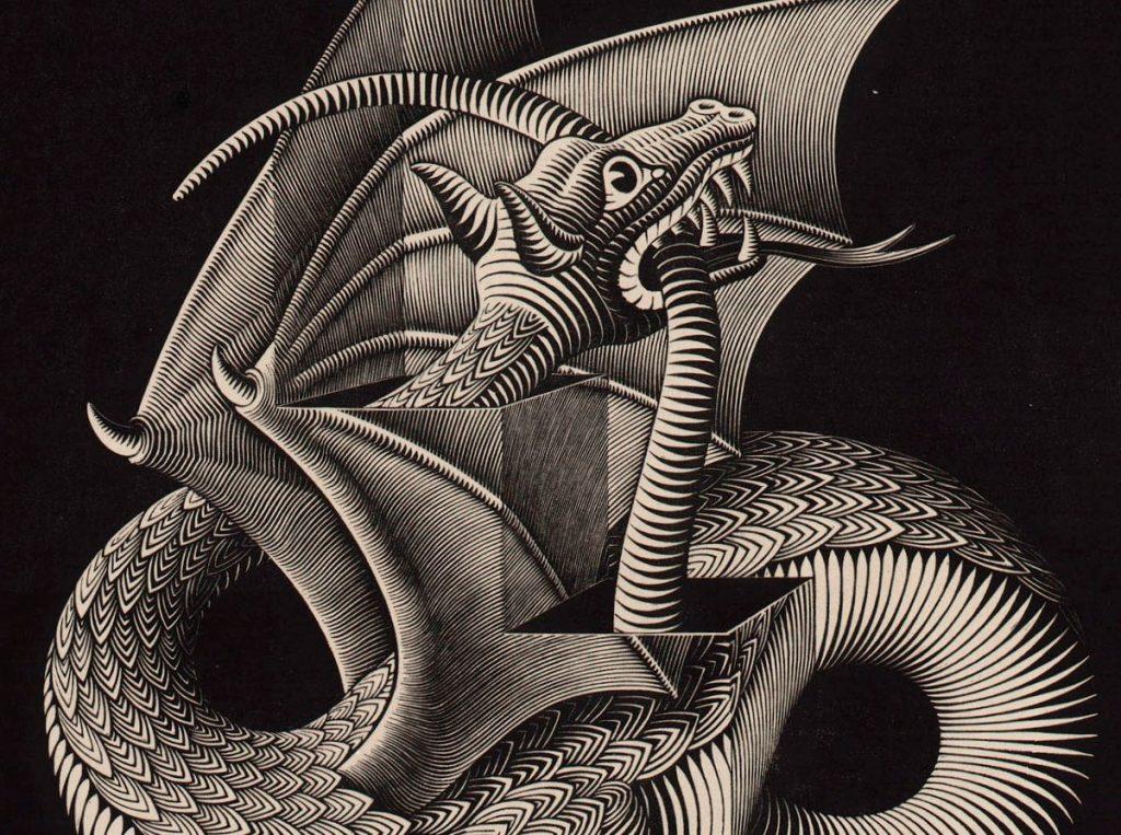 M.C. Escher, Draak, houtgravure, maart 1952 (detail kop en staart)