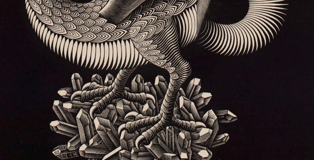 M.C. Escher, Draak, houtgravure, maart 1952 (detail poten)