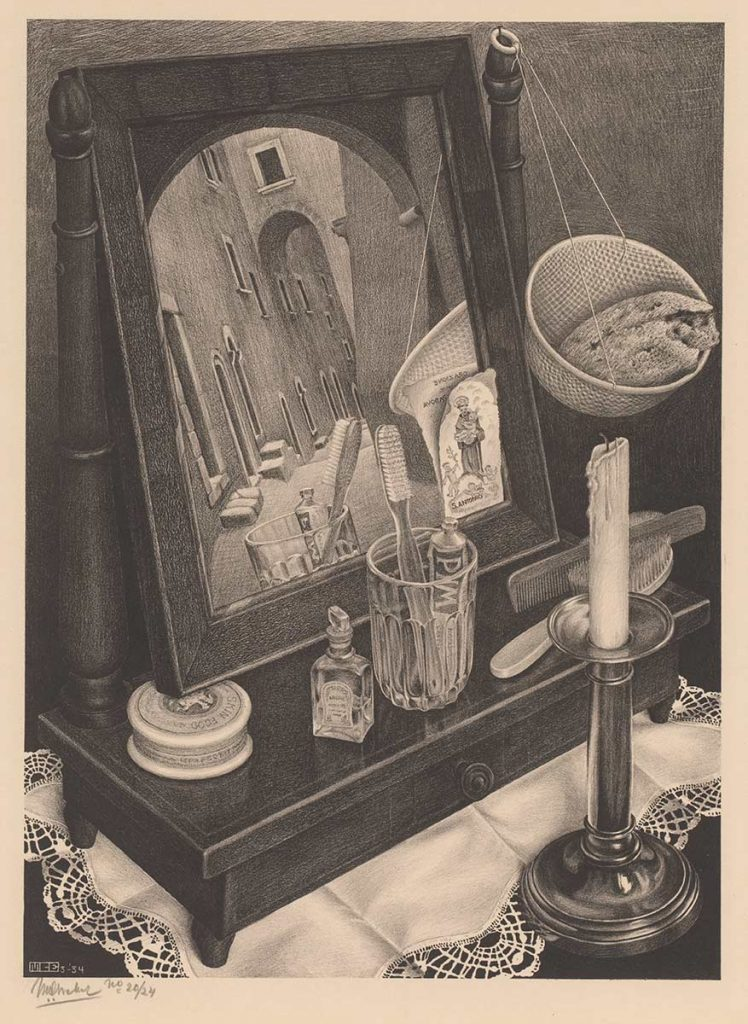 M.C. Escher, Still Life with Mirror, lithography, March 1934
