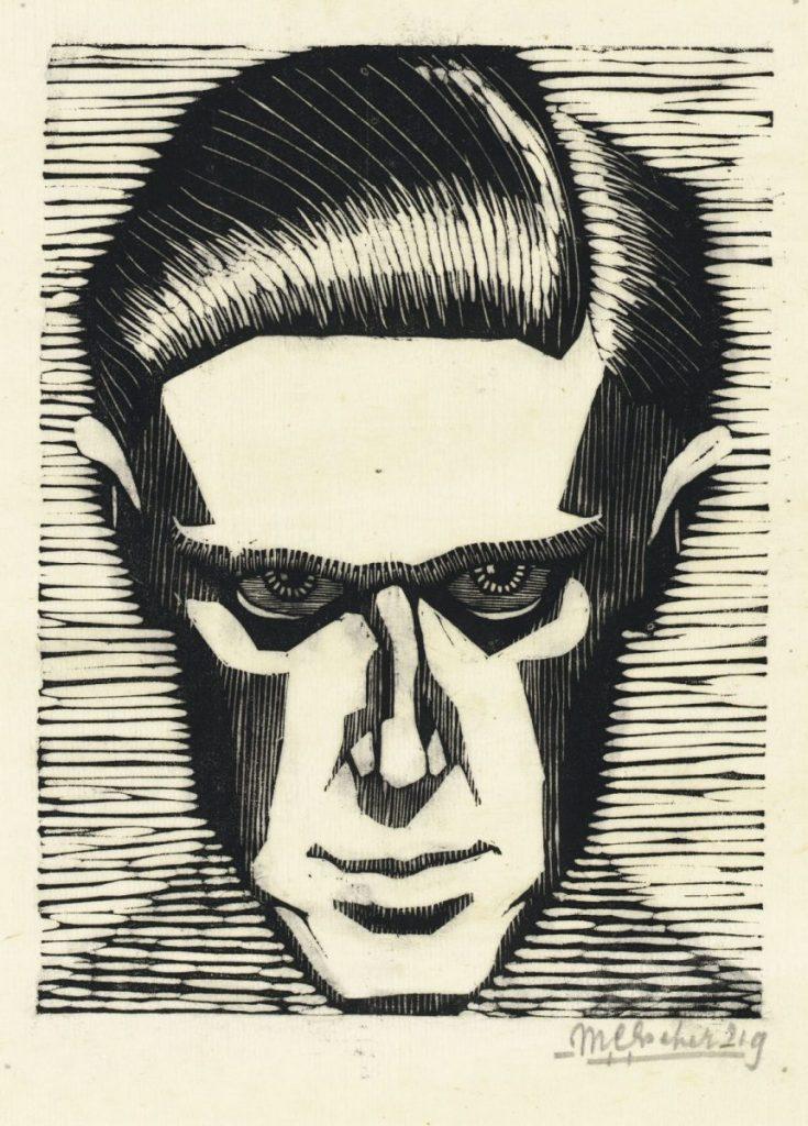 M.C. Escher, Zelfportret, houtsnede, 1919