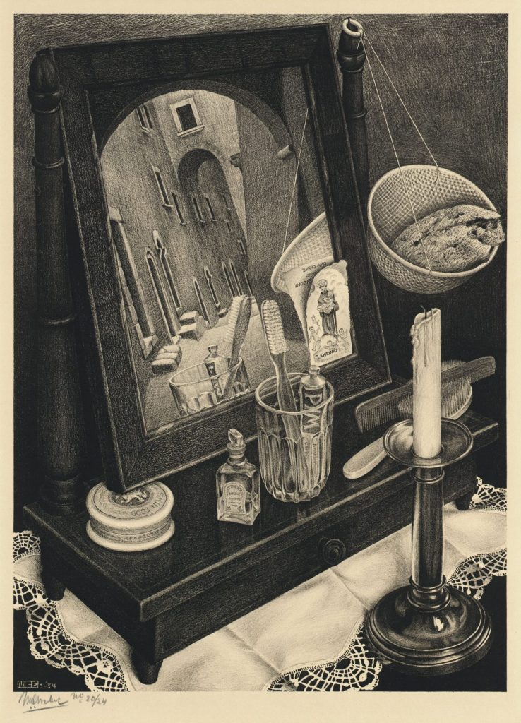 M.C. Escher, Stilleven met spiegel, litho, 1934