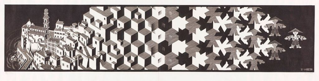 M.C. Escher, Metamorphosis I, woodcut, printed on two sheets, May 1937