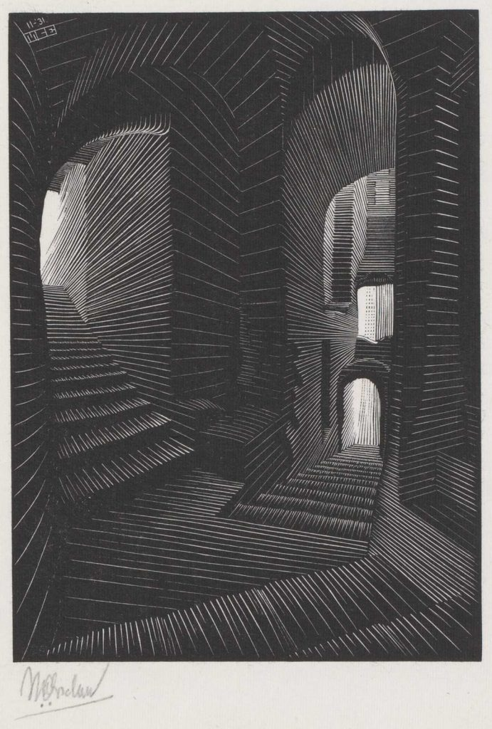 M.C. Escher, Covered Alley in Atrani (Coast of Amalfi), wood engraving, November 1931