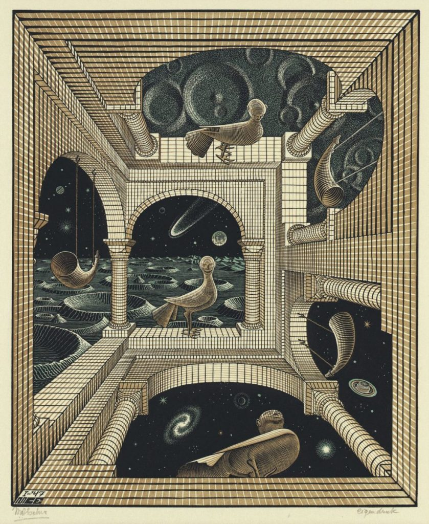 M.C. Escher, Andere wereld, houtsnede en houtgravure in zwart, roodbruin en groen, gedrukt van drie blokken, januari 1947