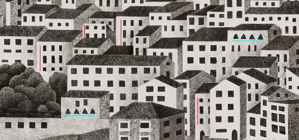 Detail of Montecelio, March 1924, work on paper, india ink and pencil. The coloured lines indicate re-use