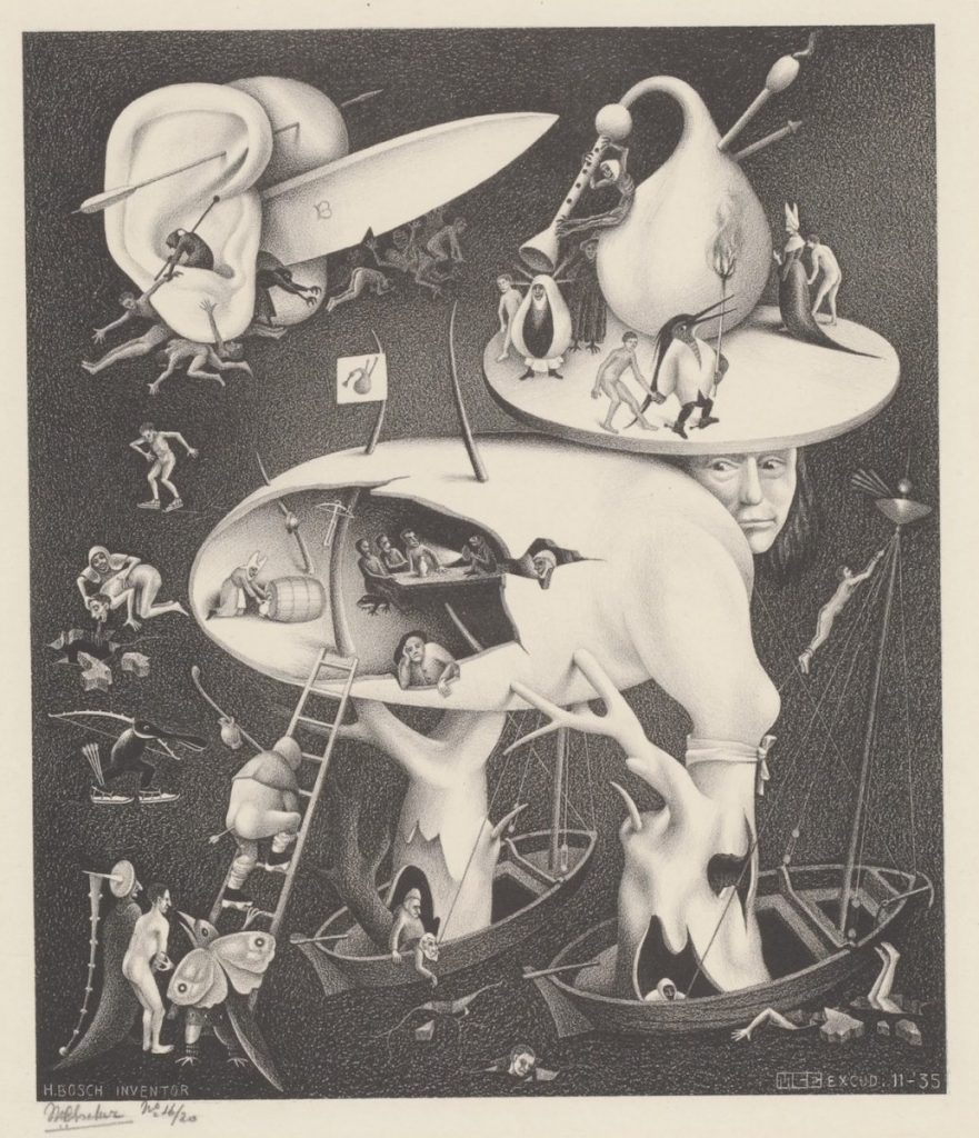 M.C. Escher, Hel (naar Hieronymus Bosch), litho, november 1935