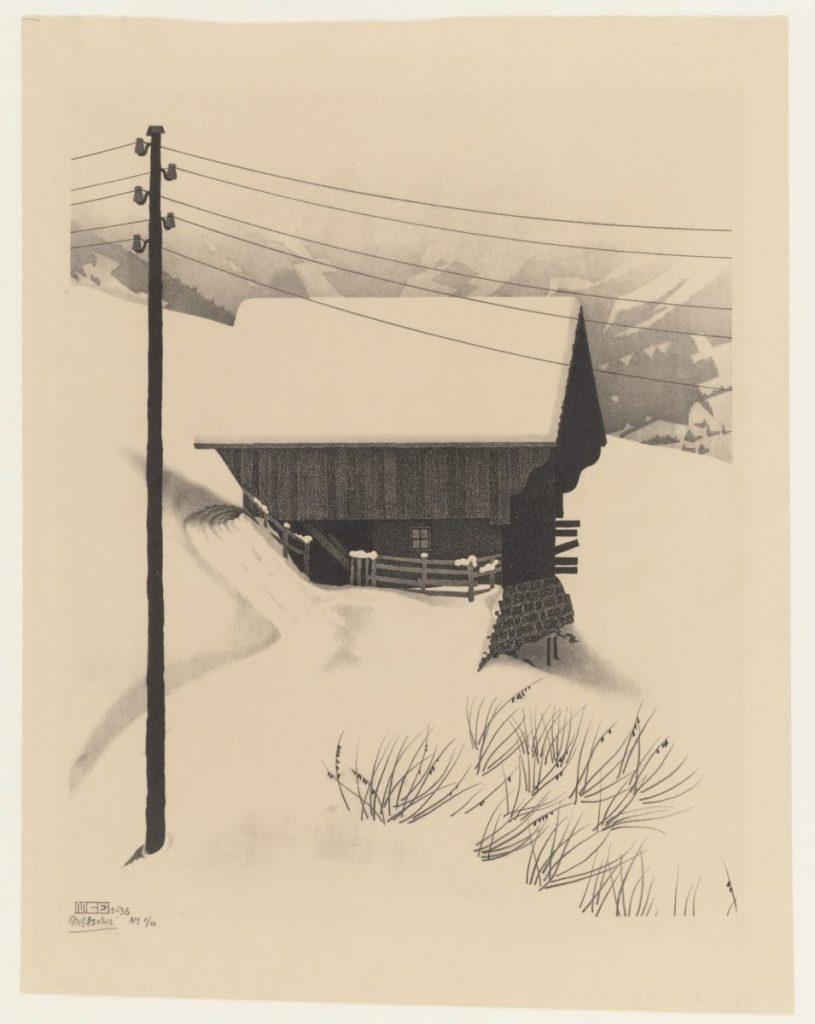 M.C. Escher, Snow, lithograph, January 1936