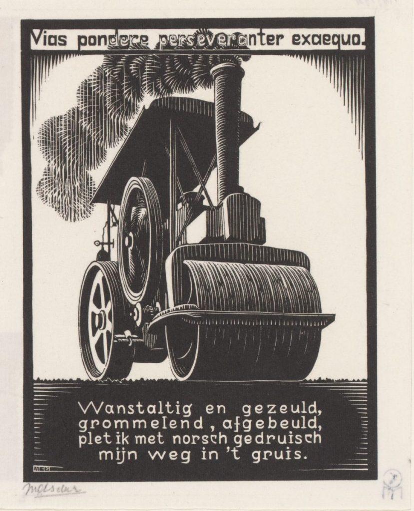 M.C. Escher, Steamroller, woodcut, between March and June 1931