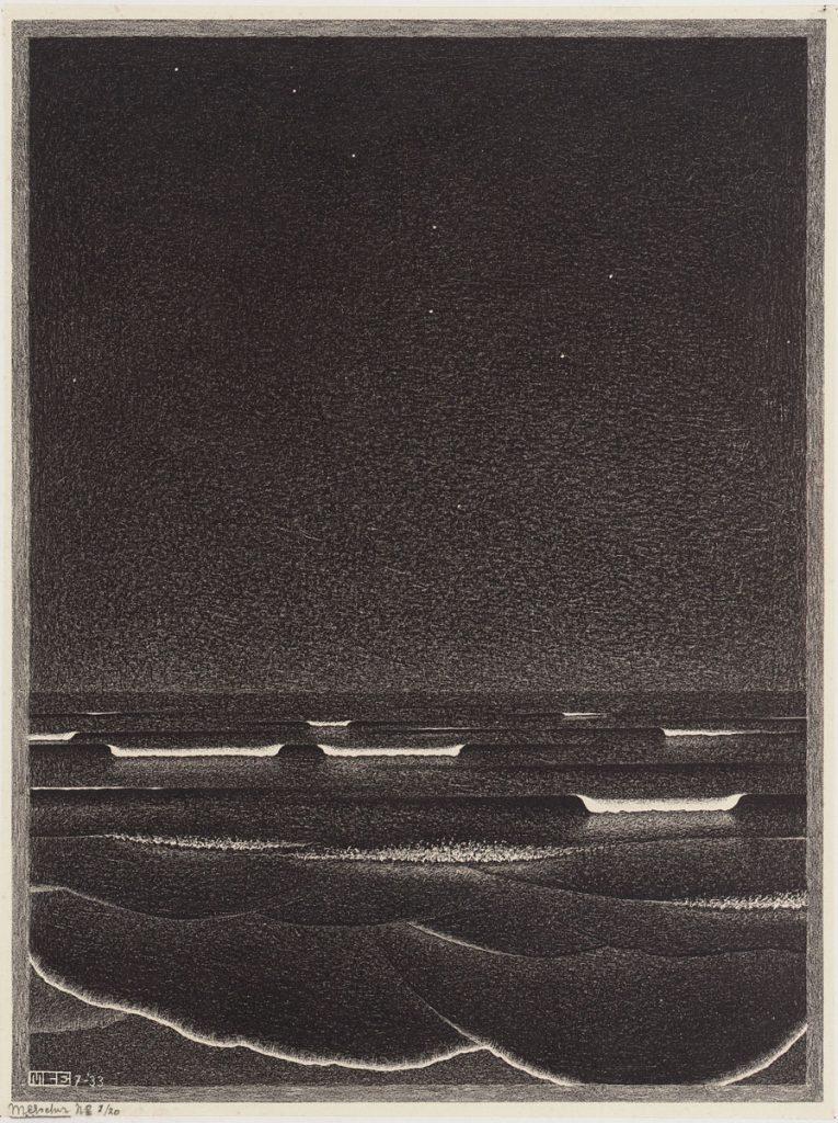 M.C. Escher, Lichtende zee, litho, juli 1933