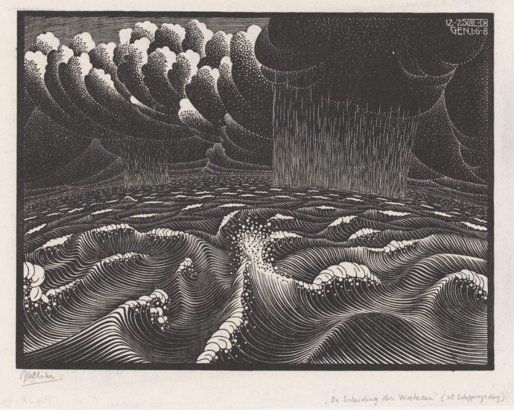 M.C. Escher, De tweede scheppingsdag (De Scheiding der Wateren), houtsnede, 1925