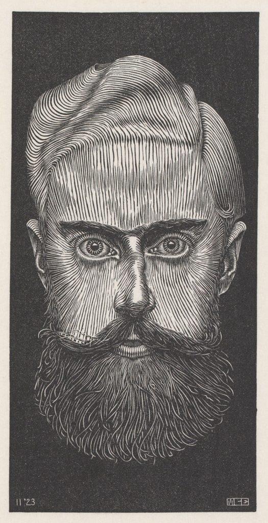 M.C. Escher, Zelfportret, houtsnede, 1923
