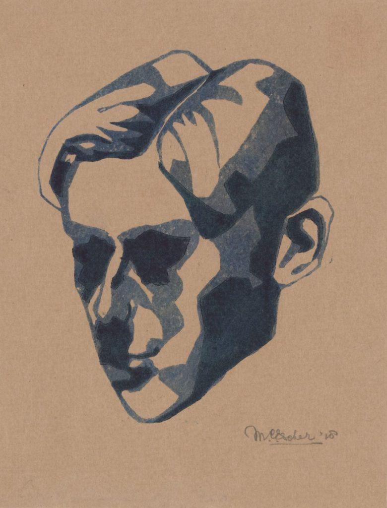 M.C. Escher, Zelfportret, linoleumsnede, 1918