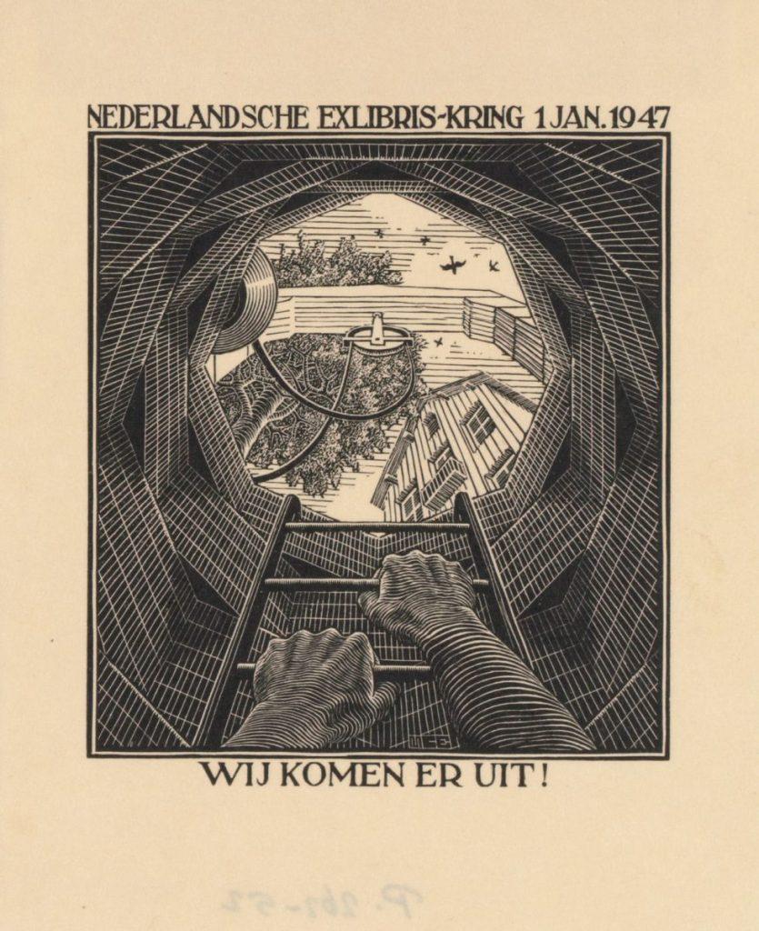 M.C. Escher, Nieuwjaarswens 1947 Nederlandsche ExLibris-Kring, Den Haag, houtsnede, november 1946