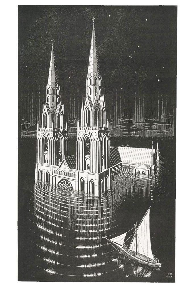 M.C. Escher, La Cathédrale Engloutie, houtsnede, 1929