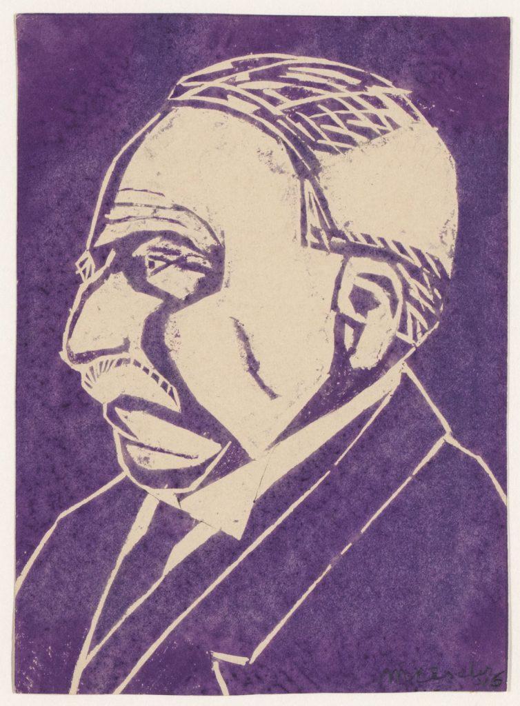 M.C. Escher, Eschers vader, ir. G.A. Escher, linoleumsnede, 1916