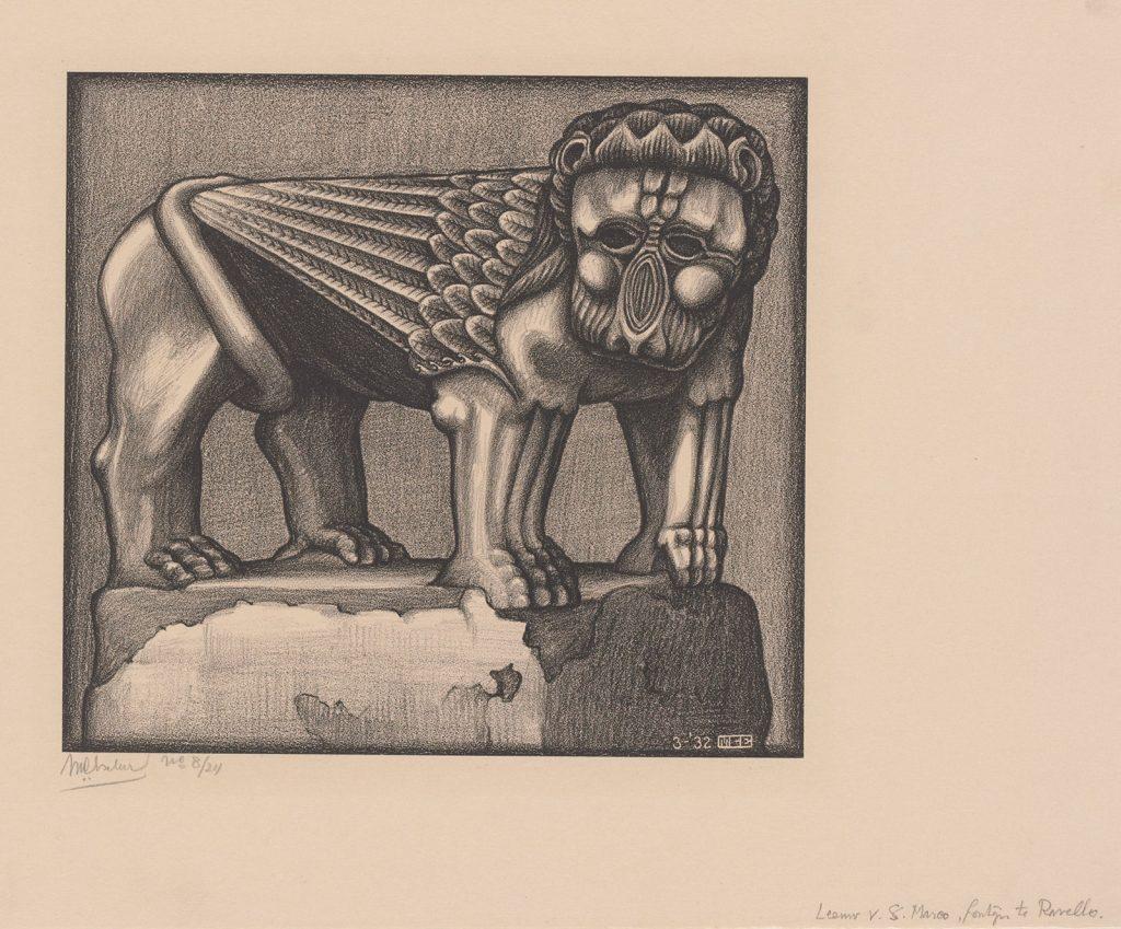 M.C. Escher, Leeuw van de fontein op de Piazza te Ravello, maart 1932