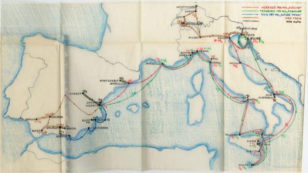 De zelfgetekende kaart van Eschers reis naar Italië en Spanje in 1936.