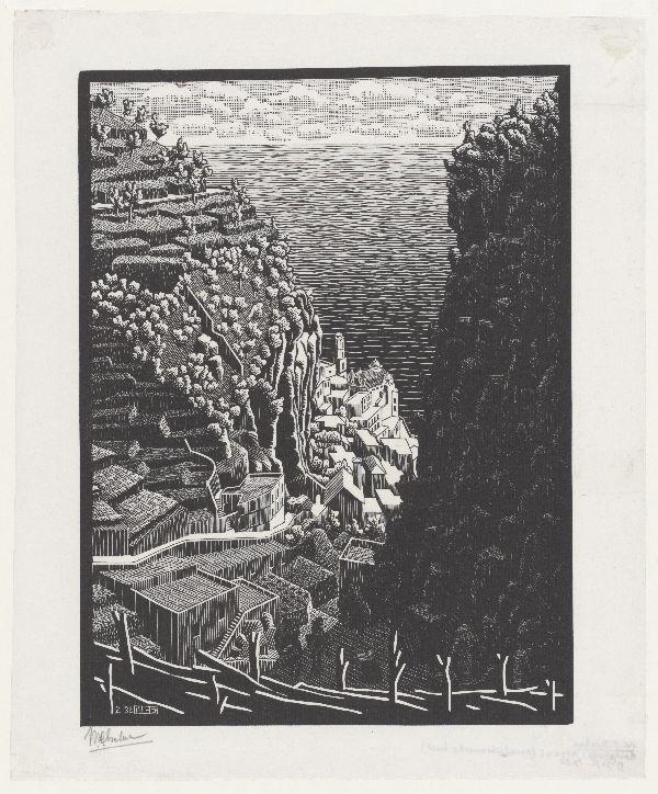 M.C. Escher, Atrani gezien vanuit Pontone, houtsnede, februari 1932