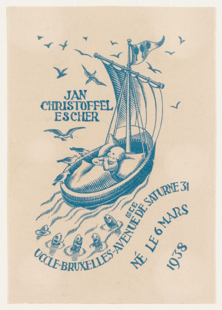 M.C. Escher, birth announcement card of Jan Escher, woodcut in blue, March 1938