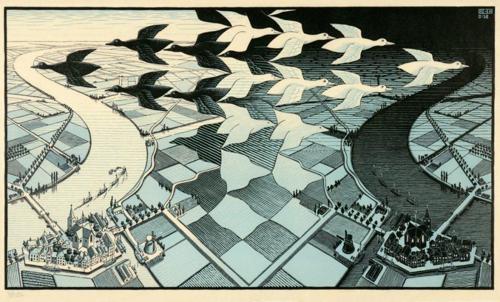 M.C. Escher, Blauwe Dag en nacht, houtsnede in zwart en licht blauw, 1938