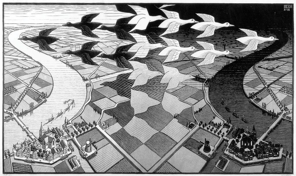 M.C. Escher, Day and night, woodcut in black and grey, printed from two blocks, february 1938
