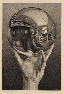 M.C. Escher, Hand with Reflecting Sphere (Self-Portrait in Spherical Mirror), lithograph, January 1935