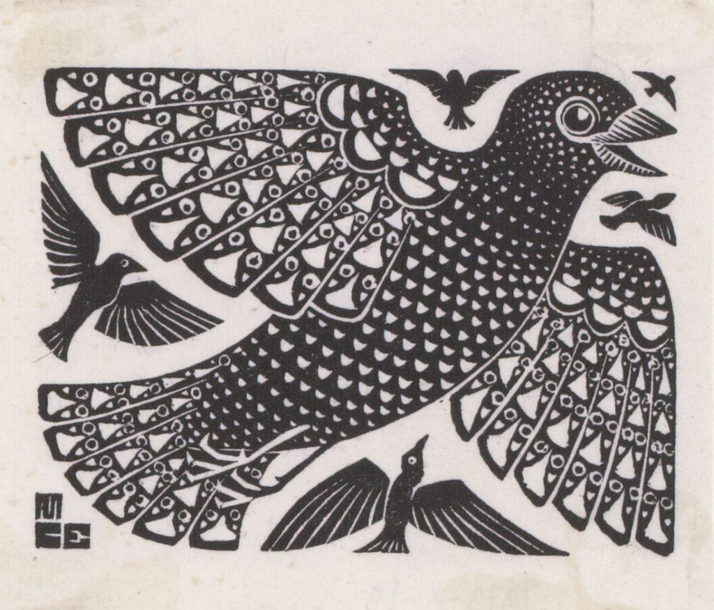 M.C. Escher, Birds, woodcut, 1926