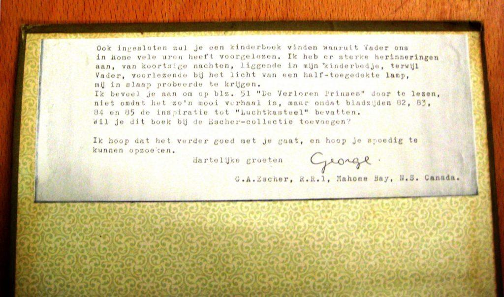 Kinderboek, quote van George Escher