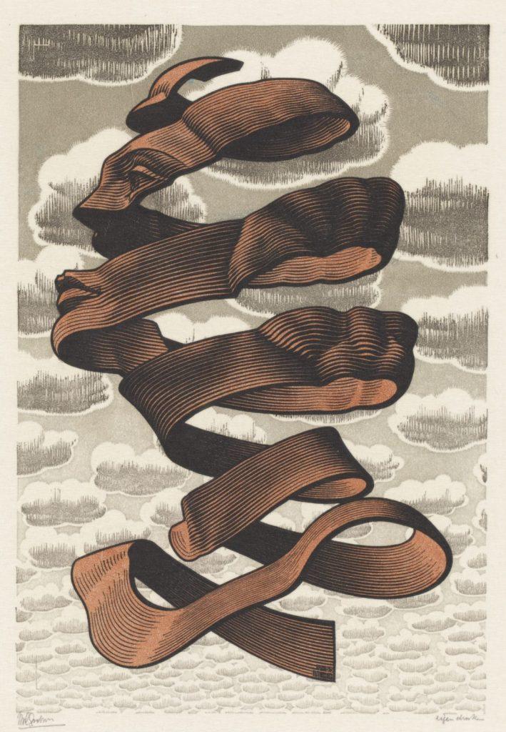 M.C. Escher, Omhulsel, houtgravure en houtsnede in zwart, bruin, blauwgrijs en grijs, gedrukt van vier blokken, 1955