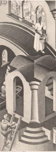 M.C. Escher, Hol en bol, litho, maart 1955 (links)