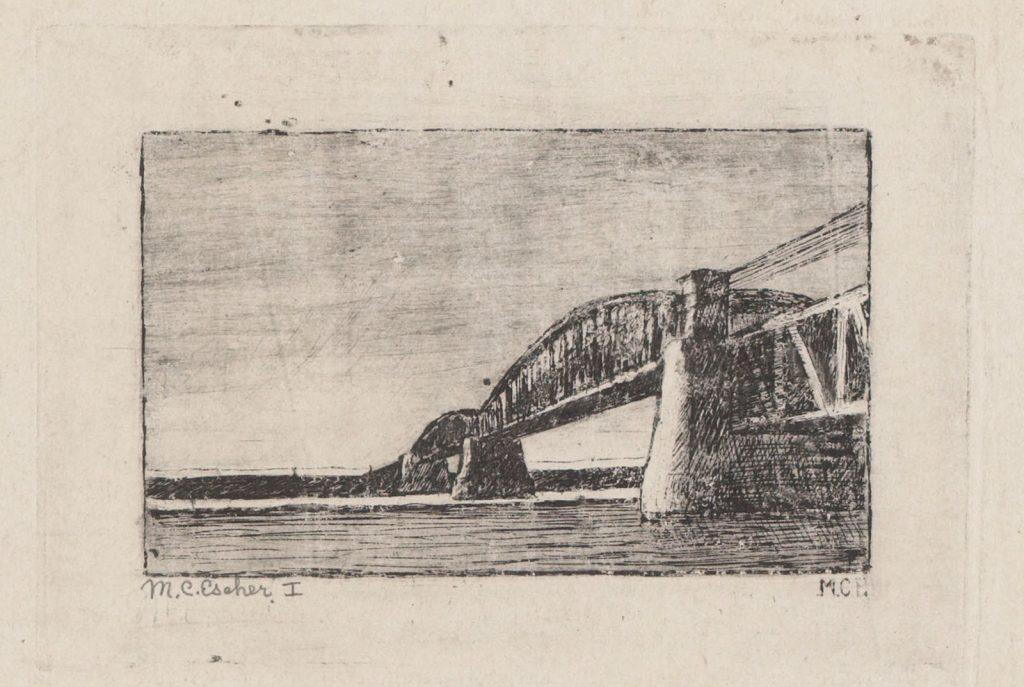 M.C. Escher, Spoorbrug over de Rijn, bij Oosterbeek, ets (eerste staat), 1917