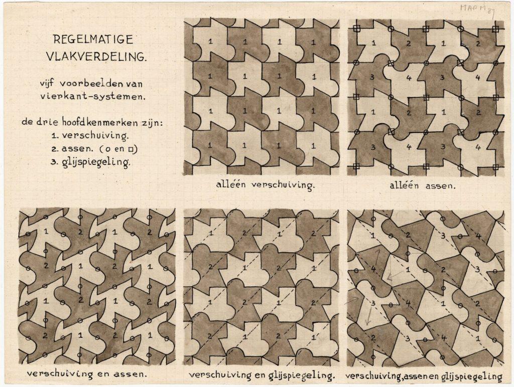 Escher, TEK-1980-0307 (vijf voorbeelden van vierkantsystemen)