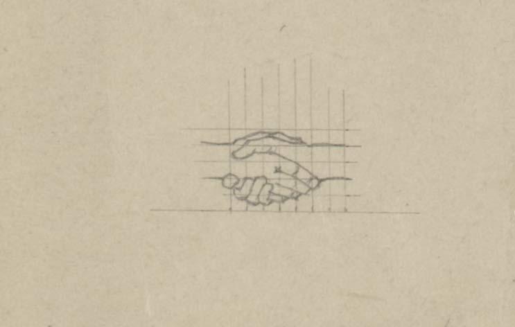 M.C. Escher, studie voor Ontmoeting. potlood op papier, 1944 (detail)