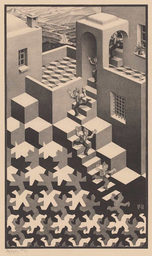 M.C. Escher, Cycle, lithograph, May 1938