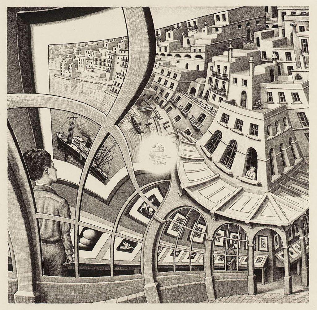 M. C. Escher, Print Gallery, lithograph, May 1956