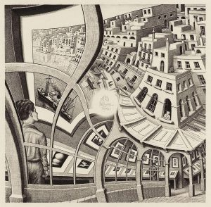 M. C. Escher, Print Gallery, lithograph, May 1956