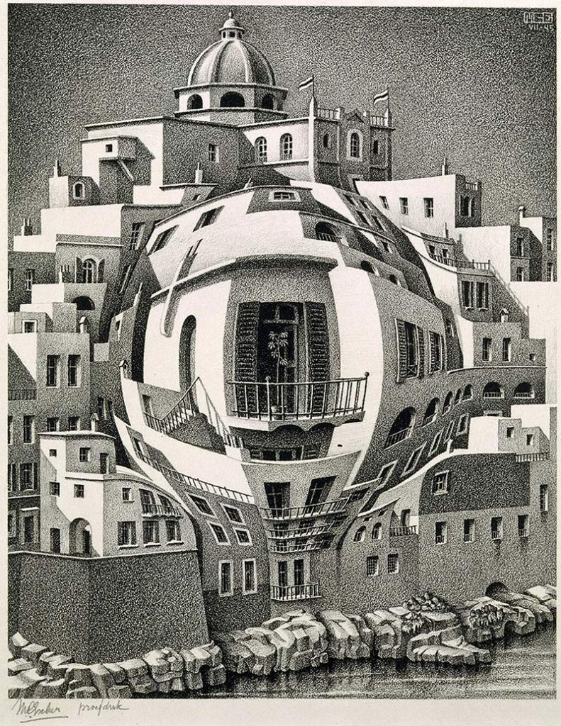 M.C. Escher, Balcony, lithograph, July 1945