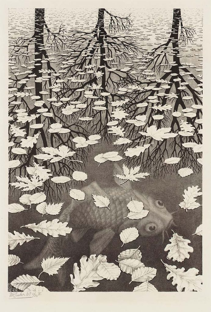 M.C. Escher, Three Worlds, lithograph, December 1955